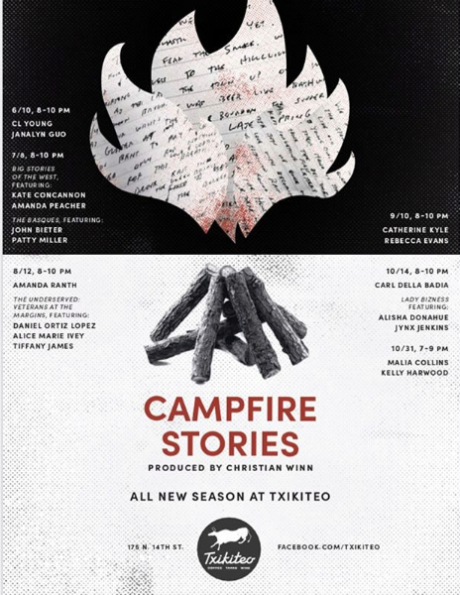 Image of a poster created for Campfire Stories sixth season at Txikiteo, produced by writer Christian Winn. in Boise, Idaho. Dates of events are June 10, July 8, August 12, September 9, October 14, and October 31 of 2019.