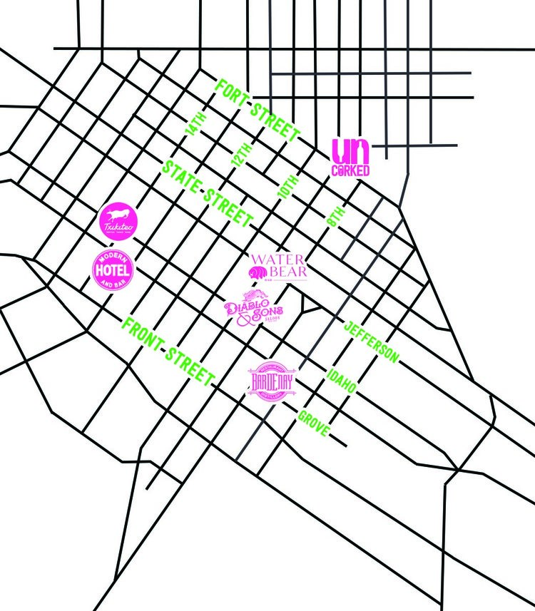 Map of five downtown Boise wine bars participating in the inaugural Rose Passport event during July 2019: Modern Hotel and Bar, Txikiteo, Diablo and Sons, Boise Co-op Uncorked, Water Bear and Bardenay.